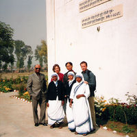 With some students in Mother Theresa Leprosy Home, New Delhi, India, 2002