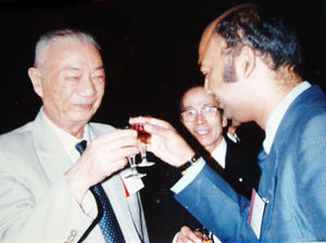 "With Dr.Lu Zhi-Jin, President, All China Society of Acupuncture and Moxibustion after Dr. Singh's research presentation on ""Scleroderma"" and ""Bhupendra Theory of Waste-end Products"", Beijing, China 1984"
