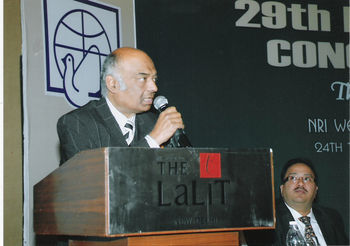 Dr. Singh speaking at the book release ceremony at Hotel Lalit, New Delhi on the eve of the republic day of India, 2010